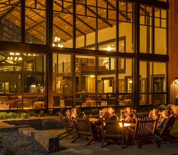 Firepit and nighttime lobby